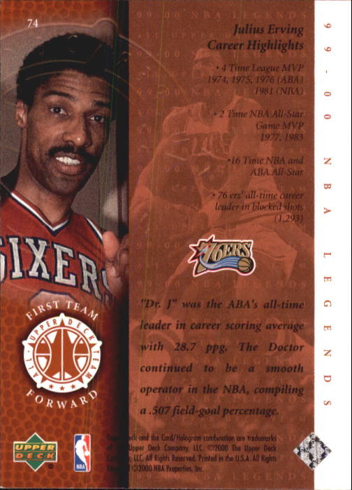 2000 Upper Deck Century Legends #74 Julius Erving UDT back image