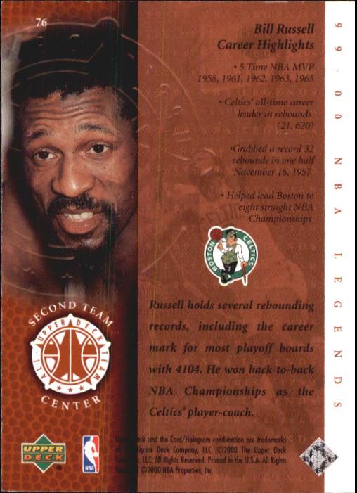 2000 Upper Deck Century Legends #76 Bill Russell UDT back image