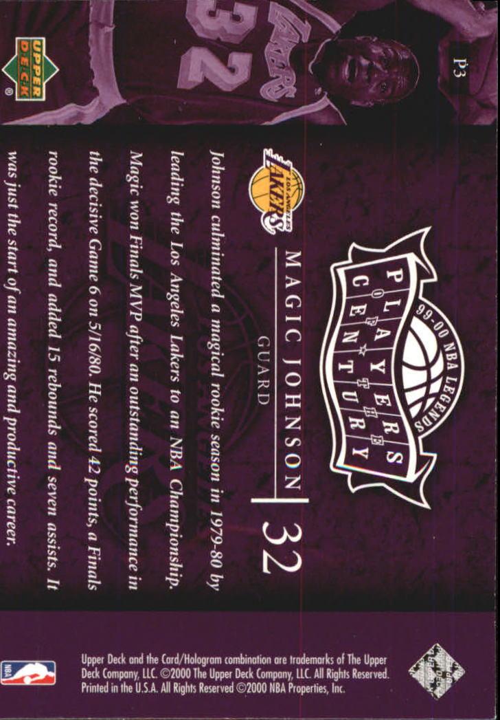 2000 Upper Deck Century Legends Players of the Century #P3 Magic Johnson back image
