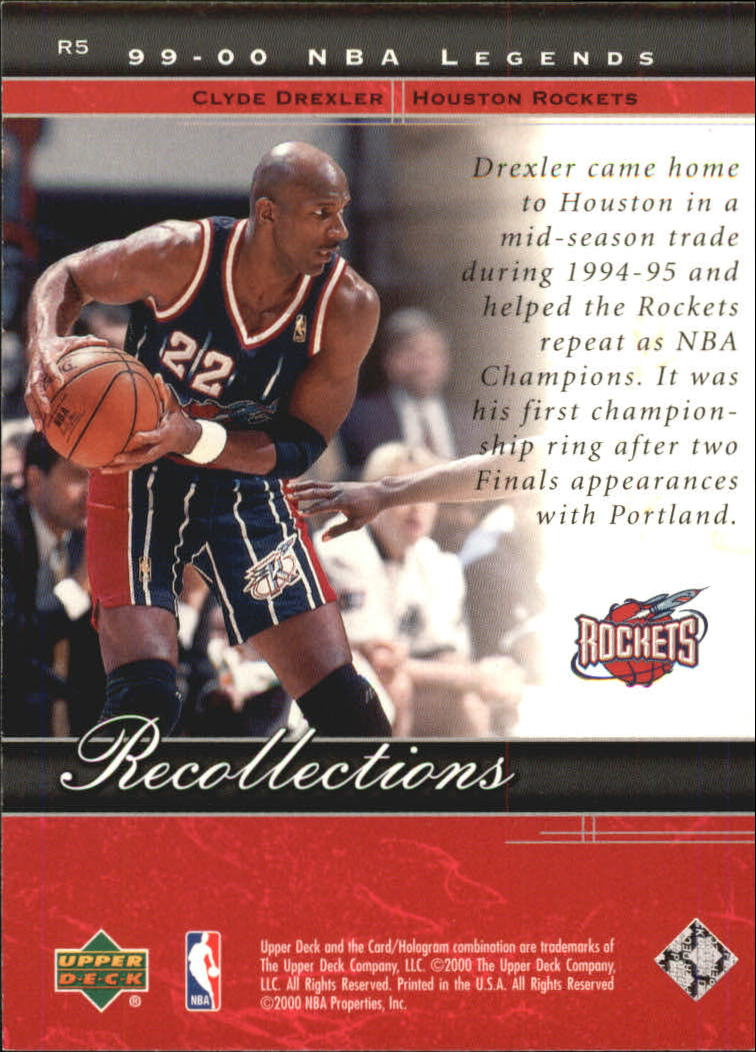 2000 Upper Deck Century Legends Recollections #R5 Clyde Drexler back image