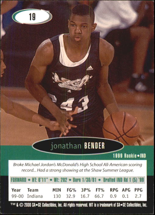 2000 SAGE HIT #19 Jonathan Bender back image
