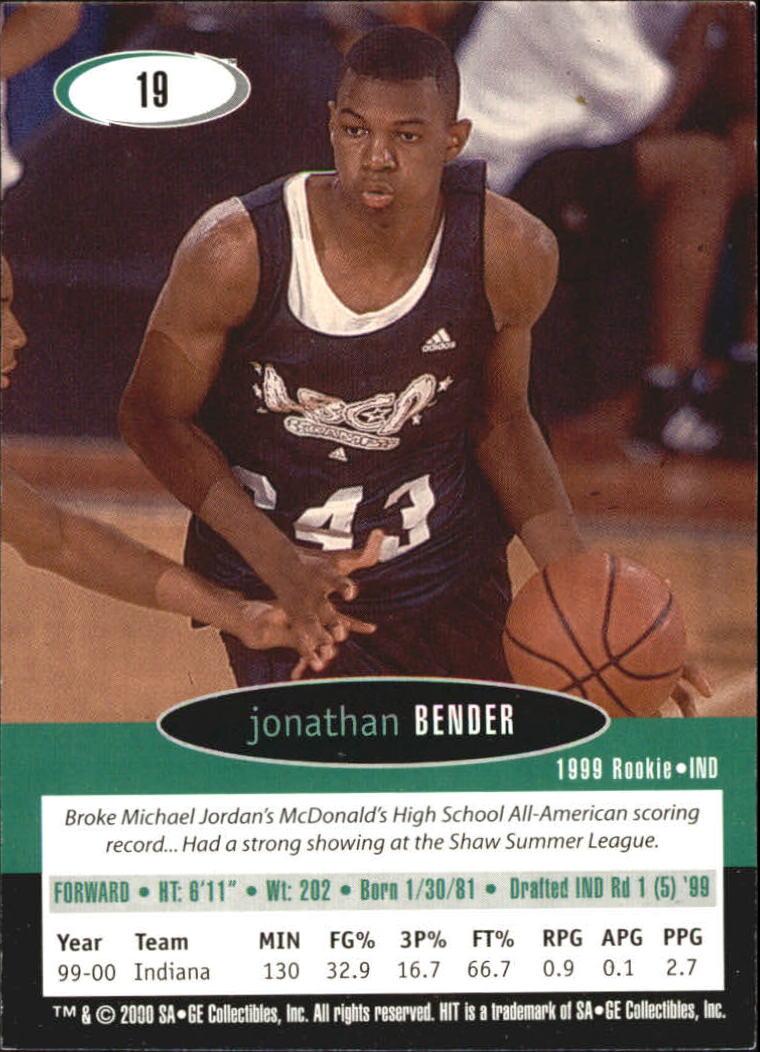 2000 SAGE HIT NRG #19 Jonathan Bender back image
