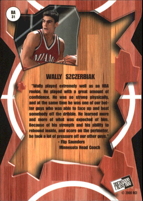 2000 Press Pass Breakaway #BA31 Wally Szczerbiak back image