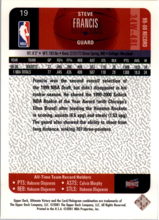 2000-01 Ultimate Victory #19 Steve Francis back image