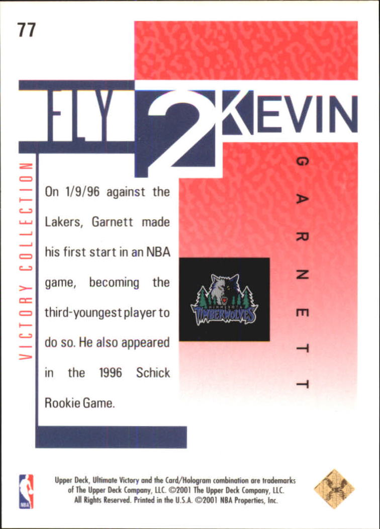 2000-01 Ultimate Victory Victory Collection #77 Kevin Garnett FLY back image
