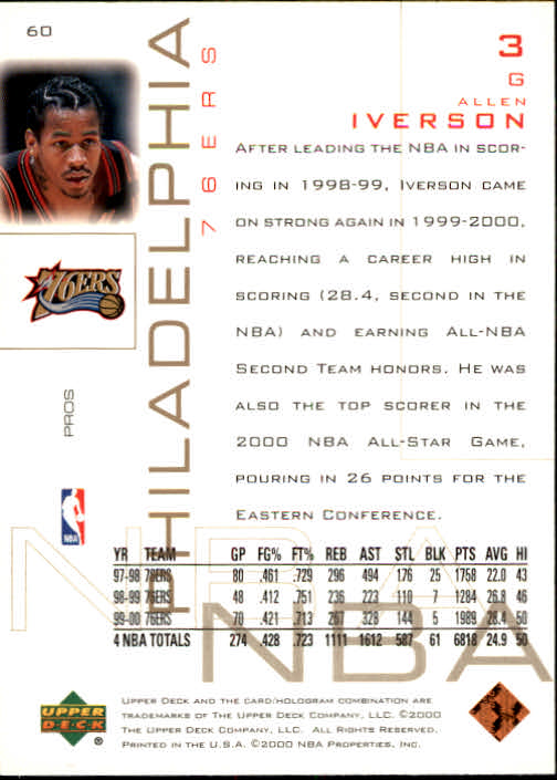 2000-01 Upper Deck Pros and Prospects #60 Allen Iverson back image