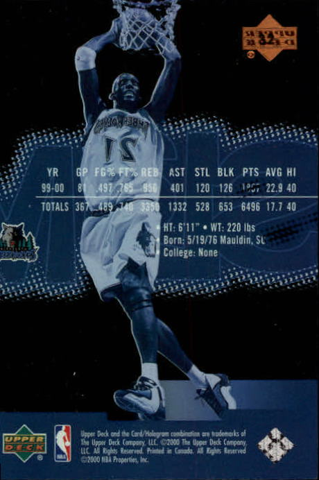 2000-01 Upper Deck Slam #32 Kevin Garnett back image