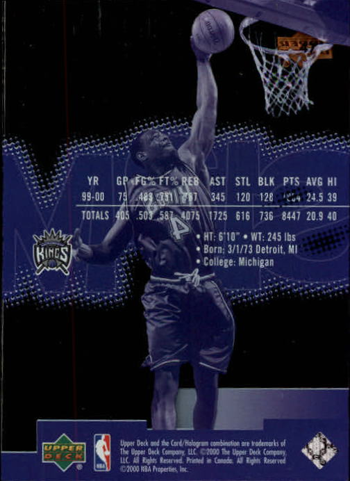 2000-01 Upper Deck Slam #47 Chris Webber back image