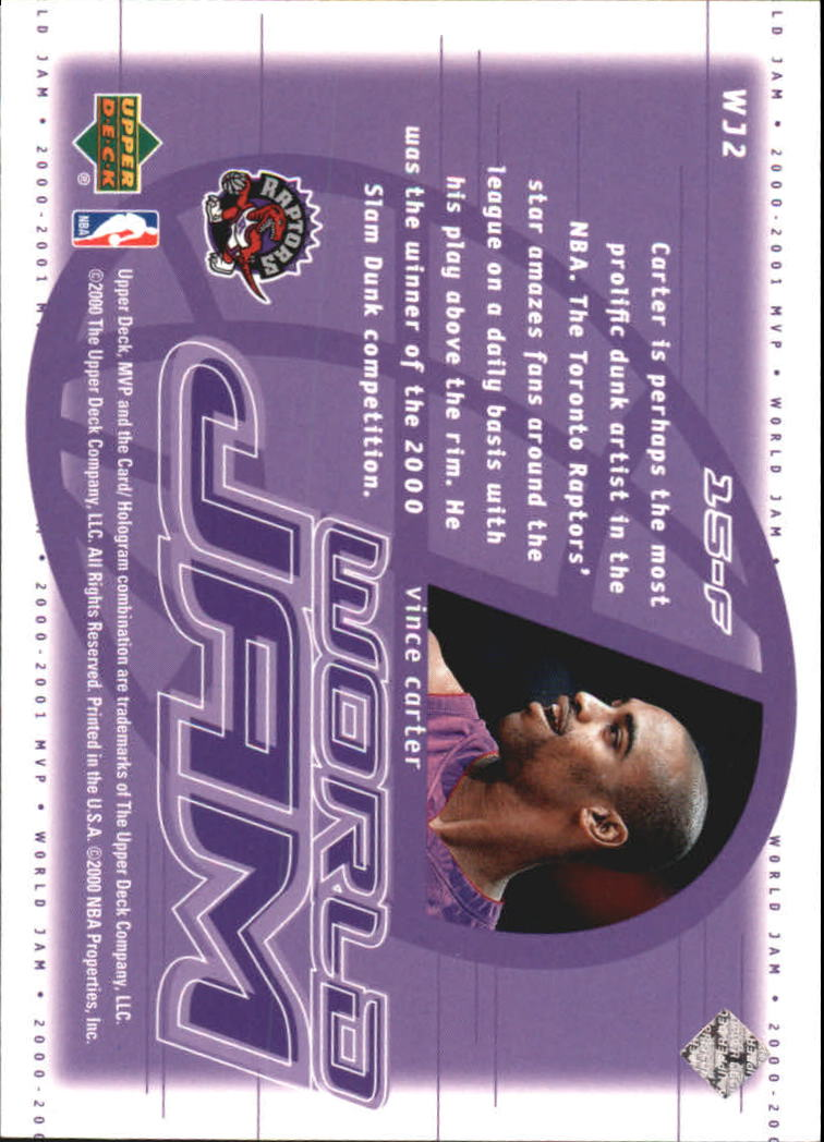 2000-01 Upper Deck MVP World Jam #WJ2 Vince Carter back image