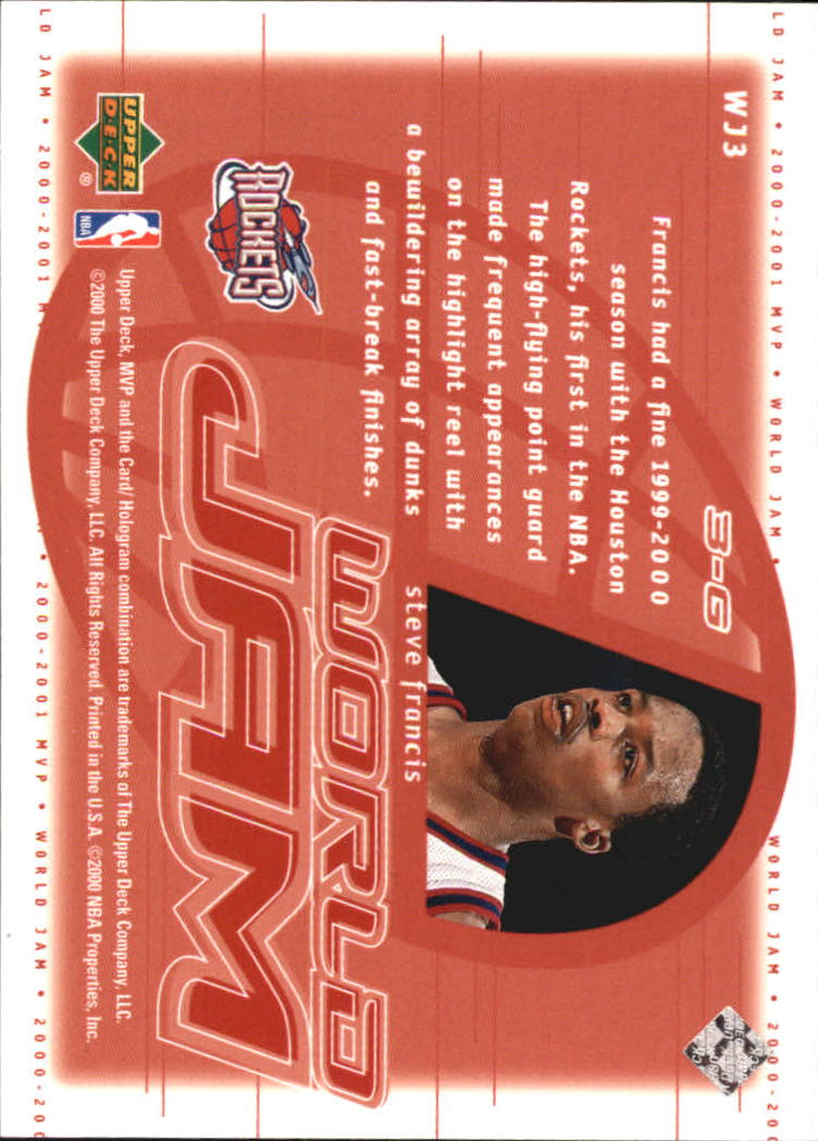 2000-01 Upper Deck MVP World Jam #WJ3 Steve Francis back image
