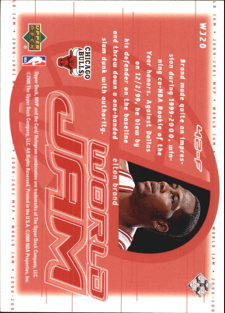 2000-01 Upper Deck MVP World Jam #WJ20 Elton Brand back image