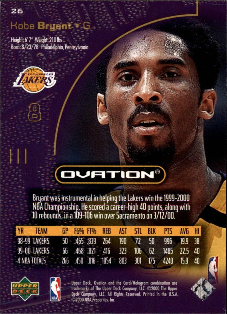 2000-01 Upper Deck Ovation #26 Kobe Bryant back image