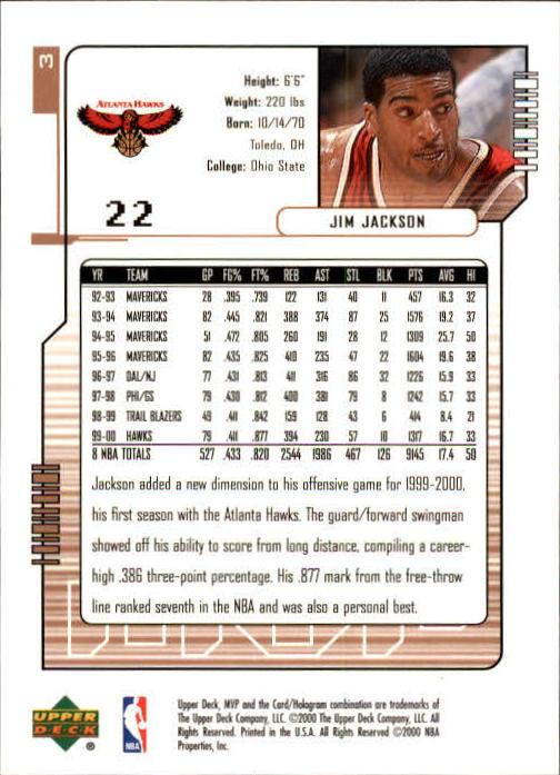 2000-01 Upper Deck MVP #3 Jim Jackson back image