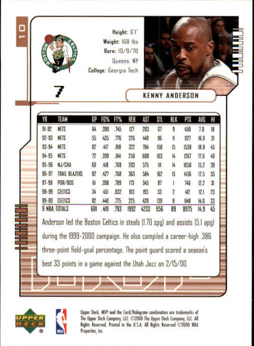 2000-01 Upper Deck MVP #10 Kenny Anderson back image