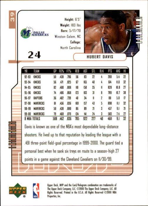 2000-01 Upper Deck MVP #39 Hubert Davis back image