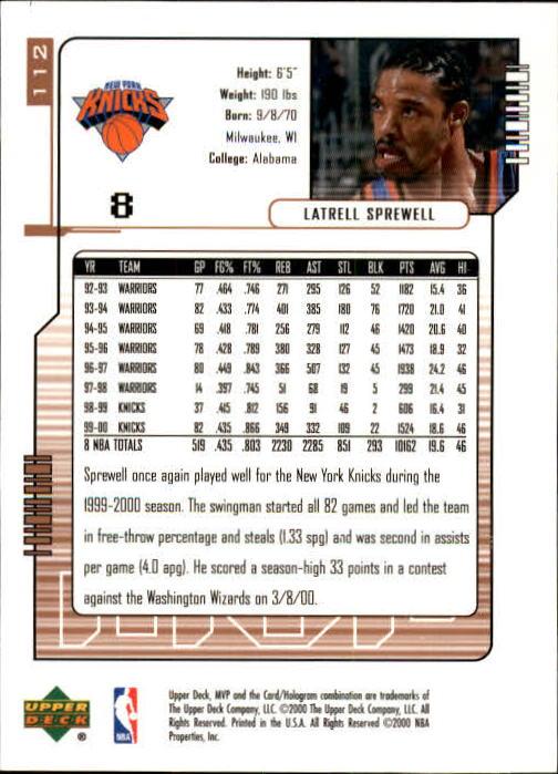 2000-01 Upper Deck MVP #112 Latrell Sprewell back image