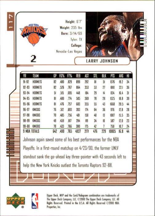2000-01 Upper Deck MVP #117 Larry Johnson back image