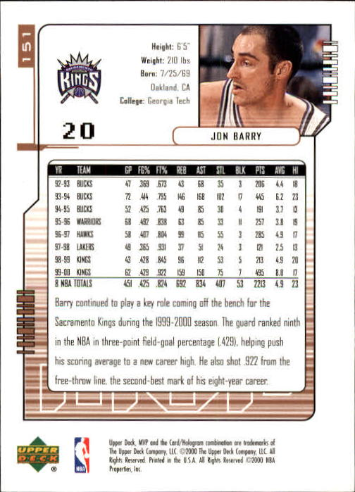 2000-01 Upper Deck MVP #151 Jon Barry back image