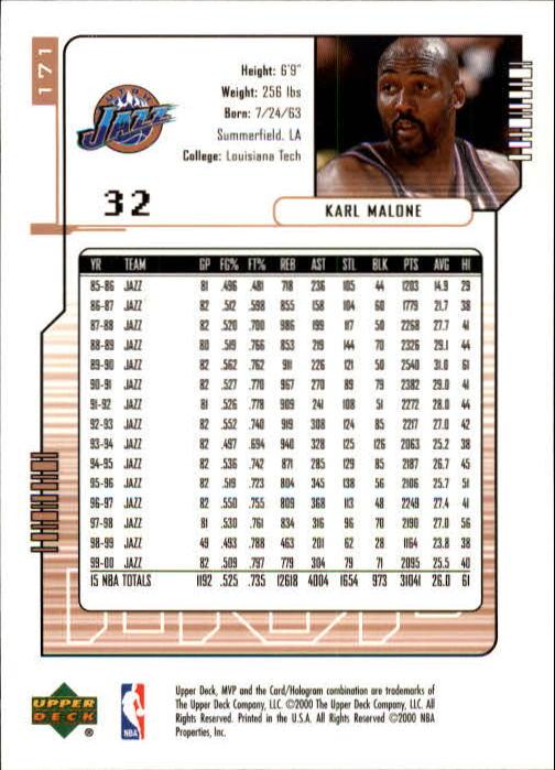 2000-01 Upper Deck MVP #171 Karl Malone back image