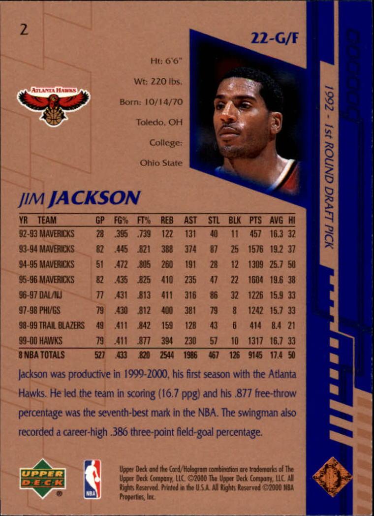 2000-01 Upper Deck #2 Jim Jackson back image