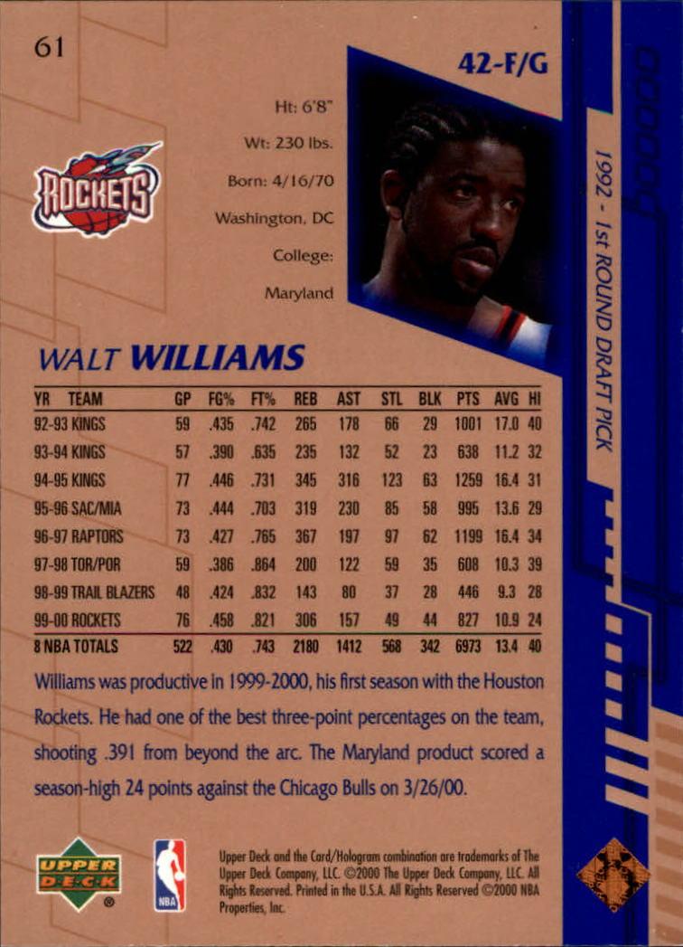 2000-01 Upper Deck #61 Walt Williams back image