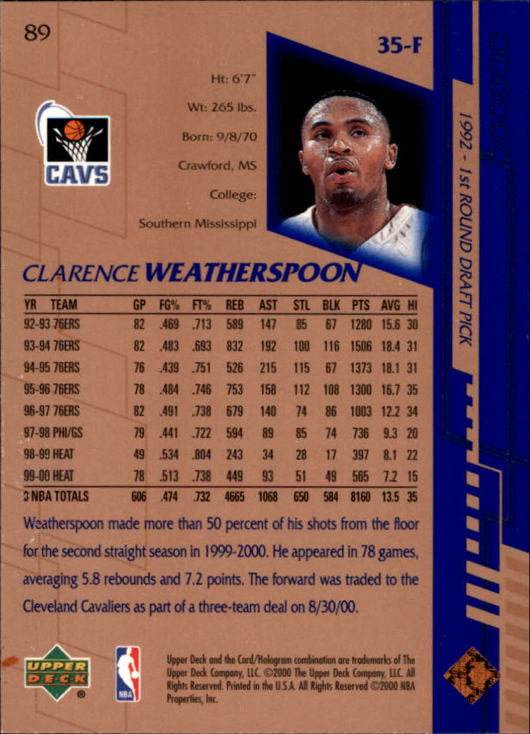 2000-01 Upper Deck #89 Clarence Weatherspoon back image
