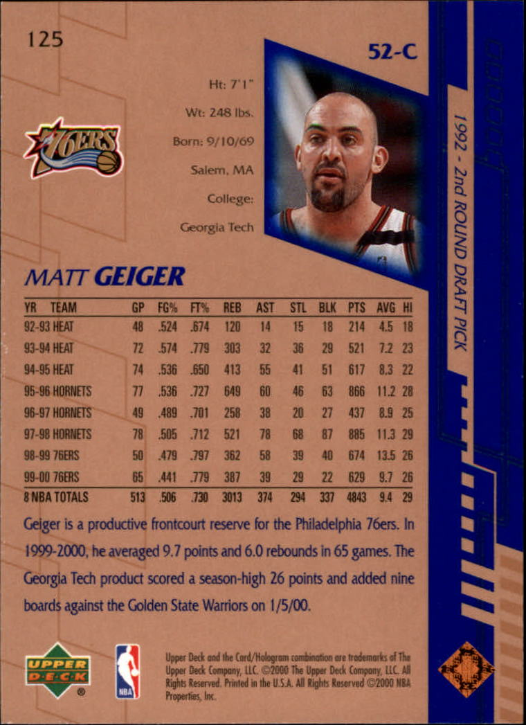 2000-01 Upper Deck #125 Matt Geiger back image