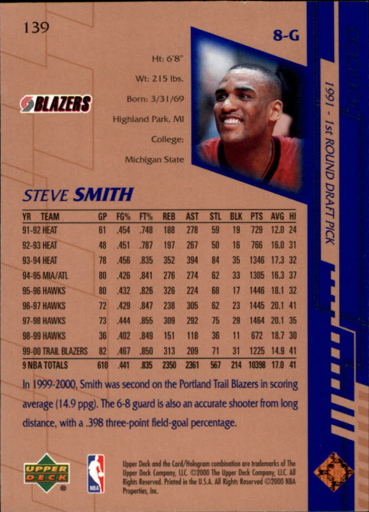 2000-01 Upper Deck #139 Steve Smith back image