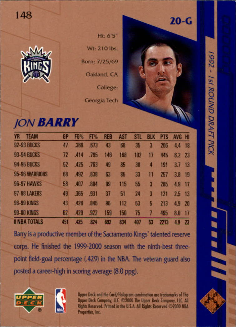 2000-01 Upper Deck #148 Jon Barry back image