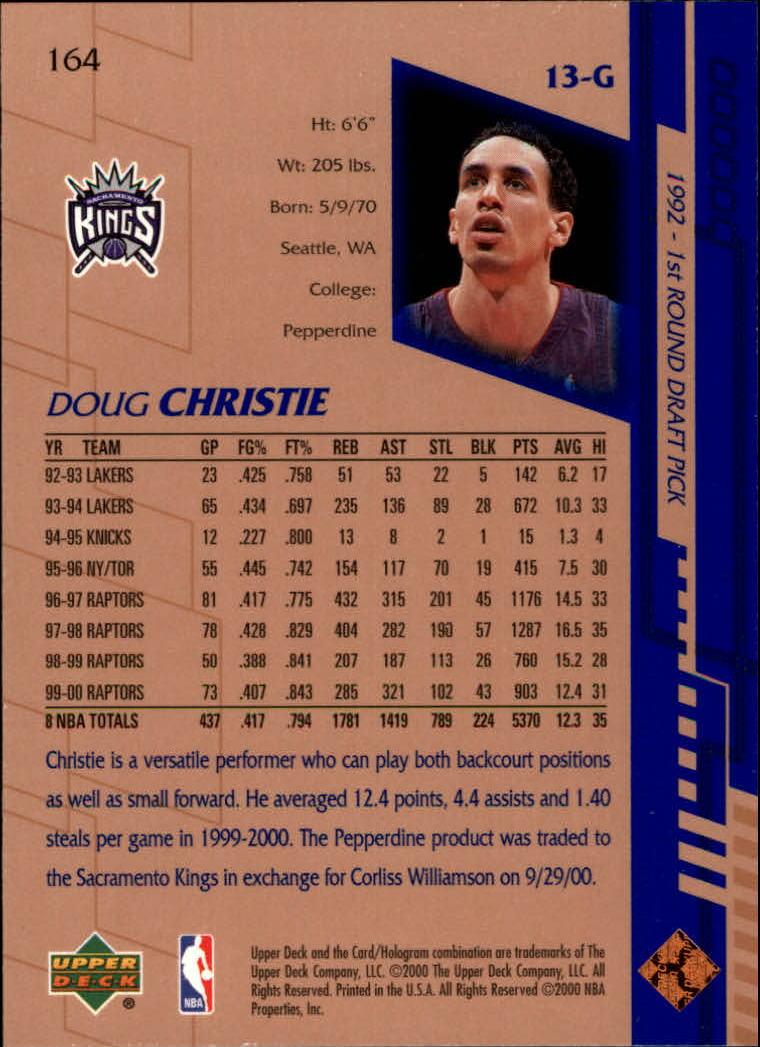 2000-01 Upper Deck #164 Doug Christie back image
