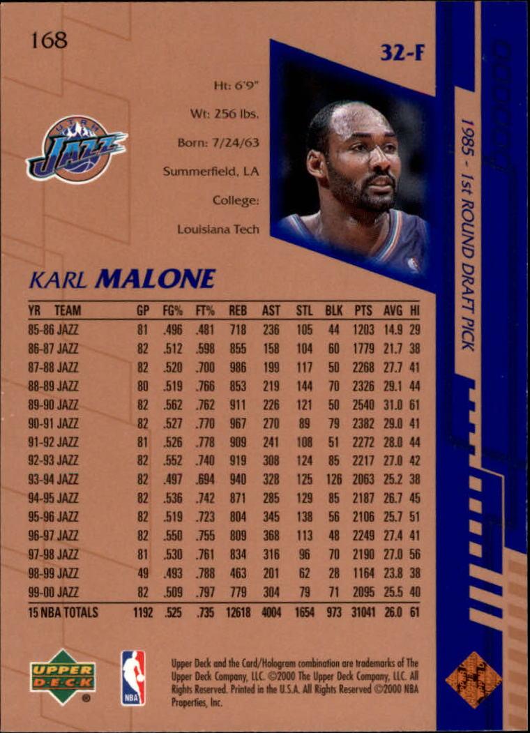 2000-01 Upper Deck #168 Karl Malone back image