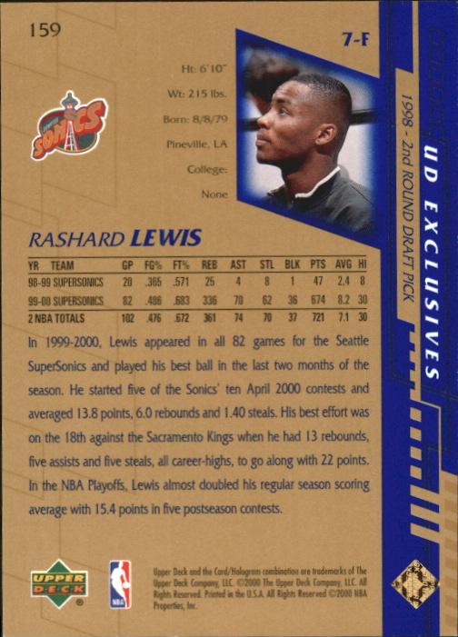2000-01 Upper Deck Gold #159 Rashard Lewis back image
