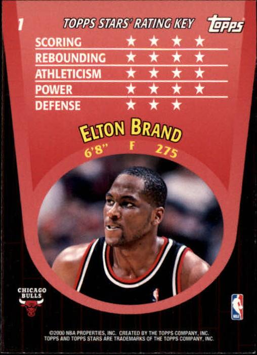 2000-01 Topps Stars #1 Elton Brand back image