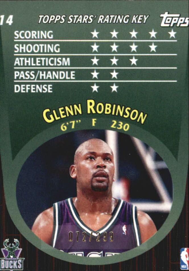 2000-01 Topps Stars Parallel #14 Glenn Robinson back image