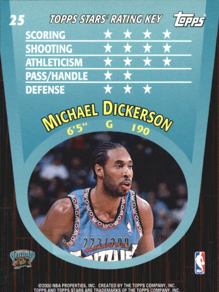 2000-01 Topps Stars Parallel #25 Michael Dickerson back image