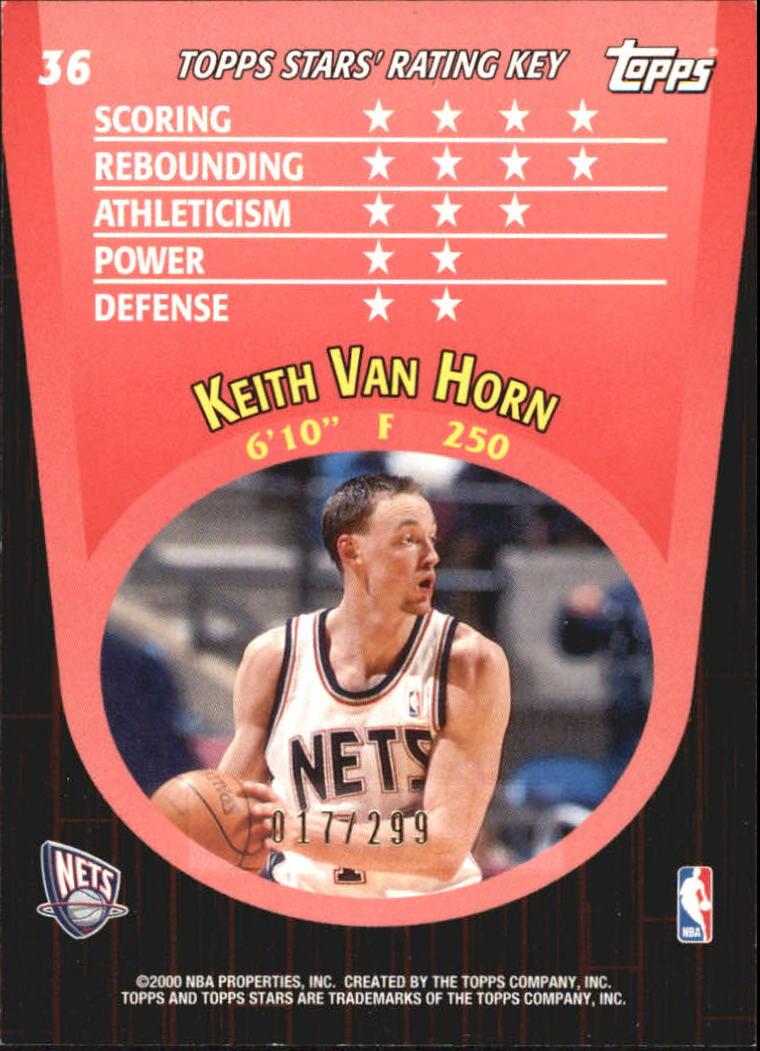 2000-01 Topps Stars Parallel #36 Keith Van Horn back image