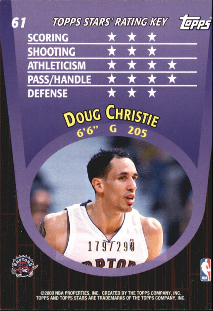 2000-01 Topps Stars Parallel #61 Doug Christie back image
