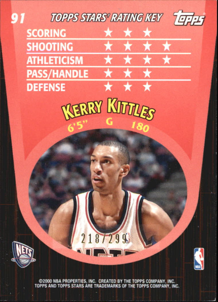 2000-01 Topps Stars Parallel #91 Kerry Kittles back image
