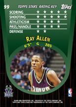 2000-01 Topps Stars Parallel #99 Ray Allen back image