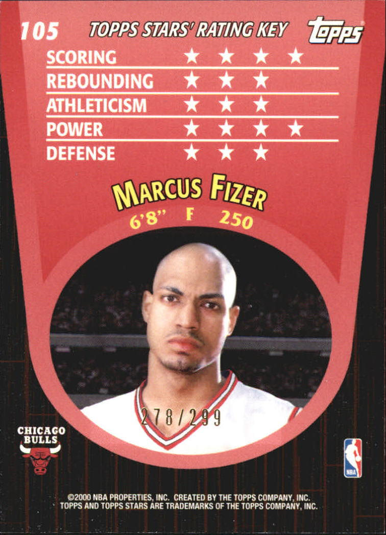 2000-01 Topps Stars Parallel #105 Marcus Fizer back image