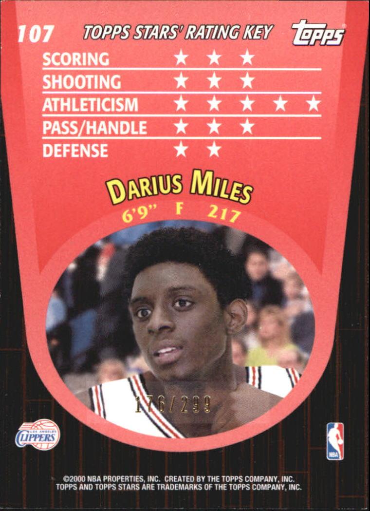 2000-01 Topps Stars Parallel #107 Darius Miles back image