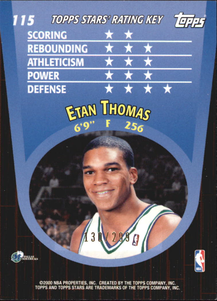2000-01 Topps Stars Parallel #115 Etan Thomas back image