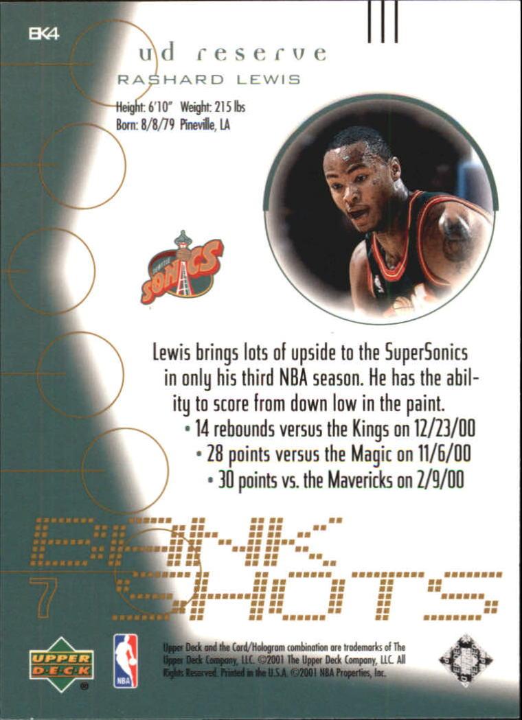2000-01 UD Reserve Bank Shots #BK4 Rashard Lewis back image