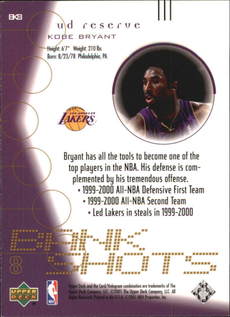 2000-01 UD Reserve Bank Shots #BK8 Kobe Bryant back image