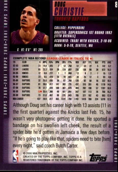 2000-01 Topps #8 Doug Christie back image