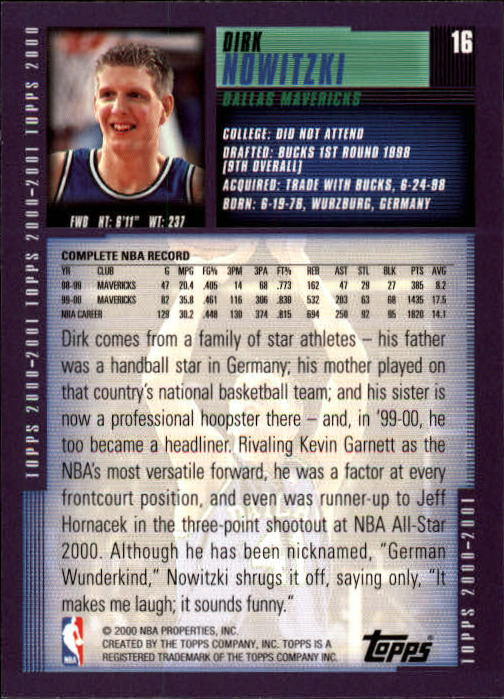 2000-01 Topps #16 Dirk Nowitzki back image