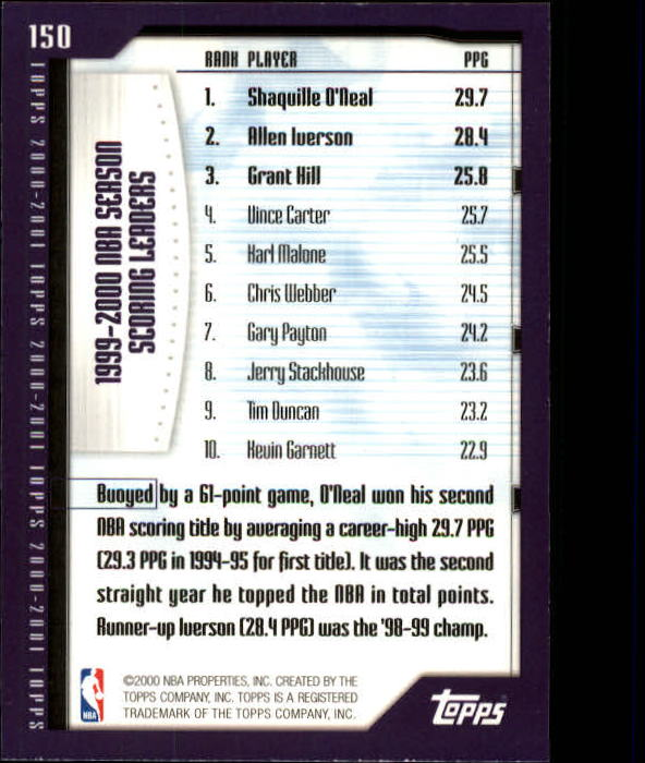 2000-01 Topps #150 Shaquille O'Neal/Allen Iverson/Grant Hill SL back image