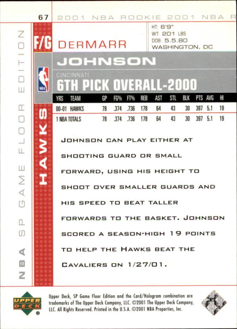 2000-01 SP Game Floor #67 DerMarr Johnson RC back image