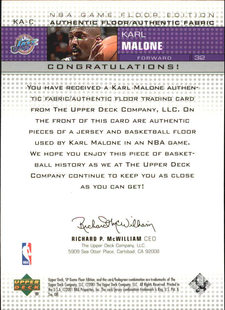 2000-01 SP Game Floor Authentic Fabric/Floor Combos #KAC Karl Malone back image
