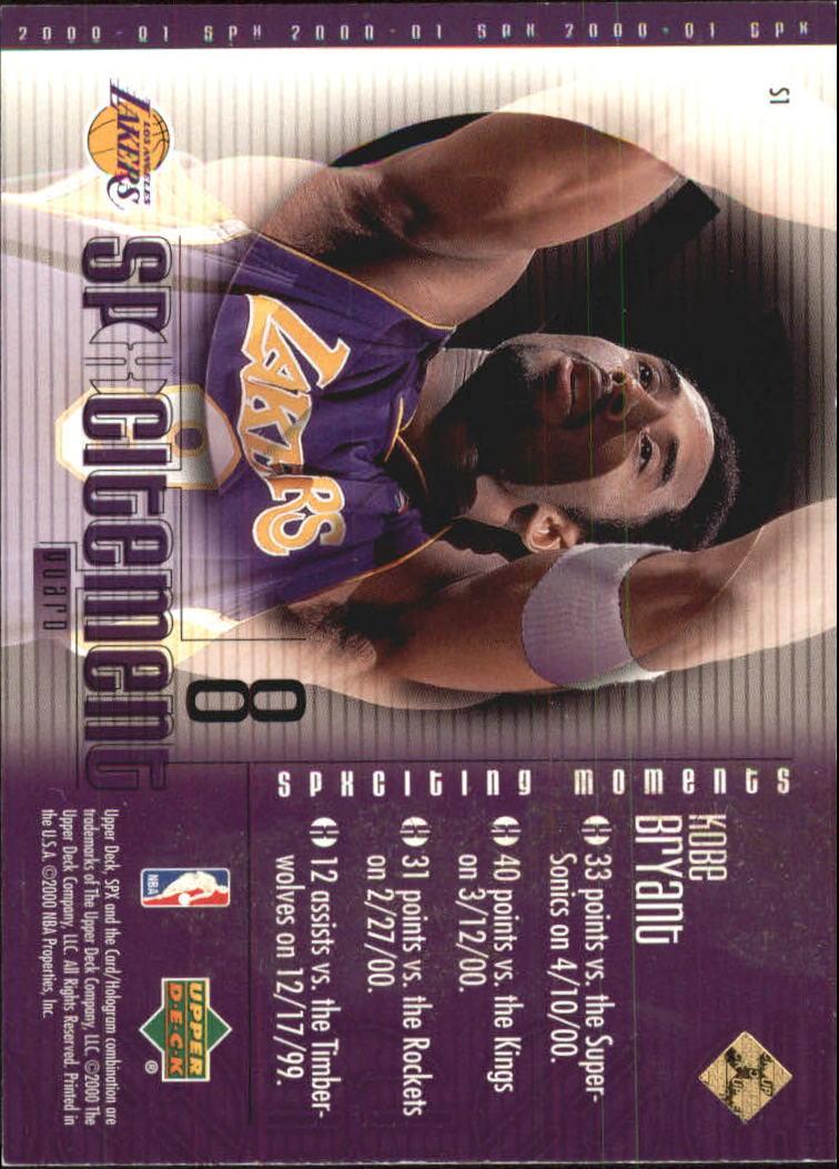 2000-01 SPx Spxcitement #S1 Kobe Bryant back image